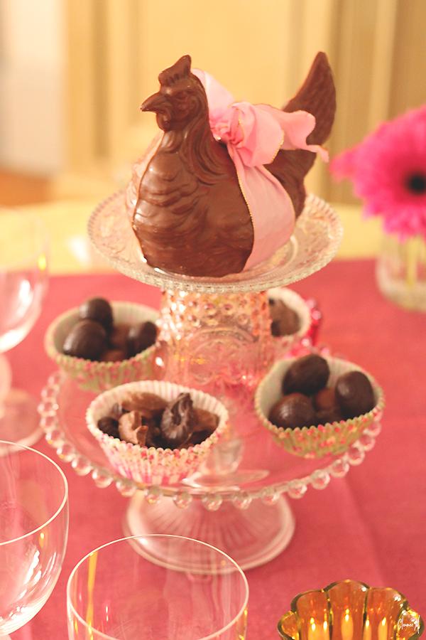 table pâques présentoir poule chocolat clemence m
