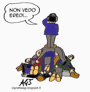 Berlusconi, eredi, centrodestra, satira, vignetta