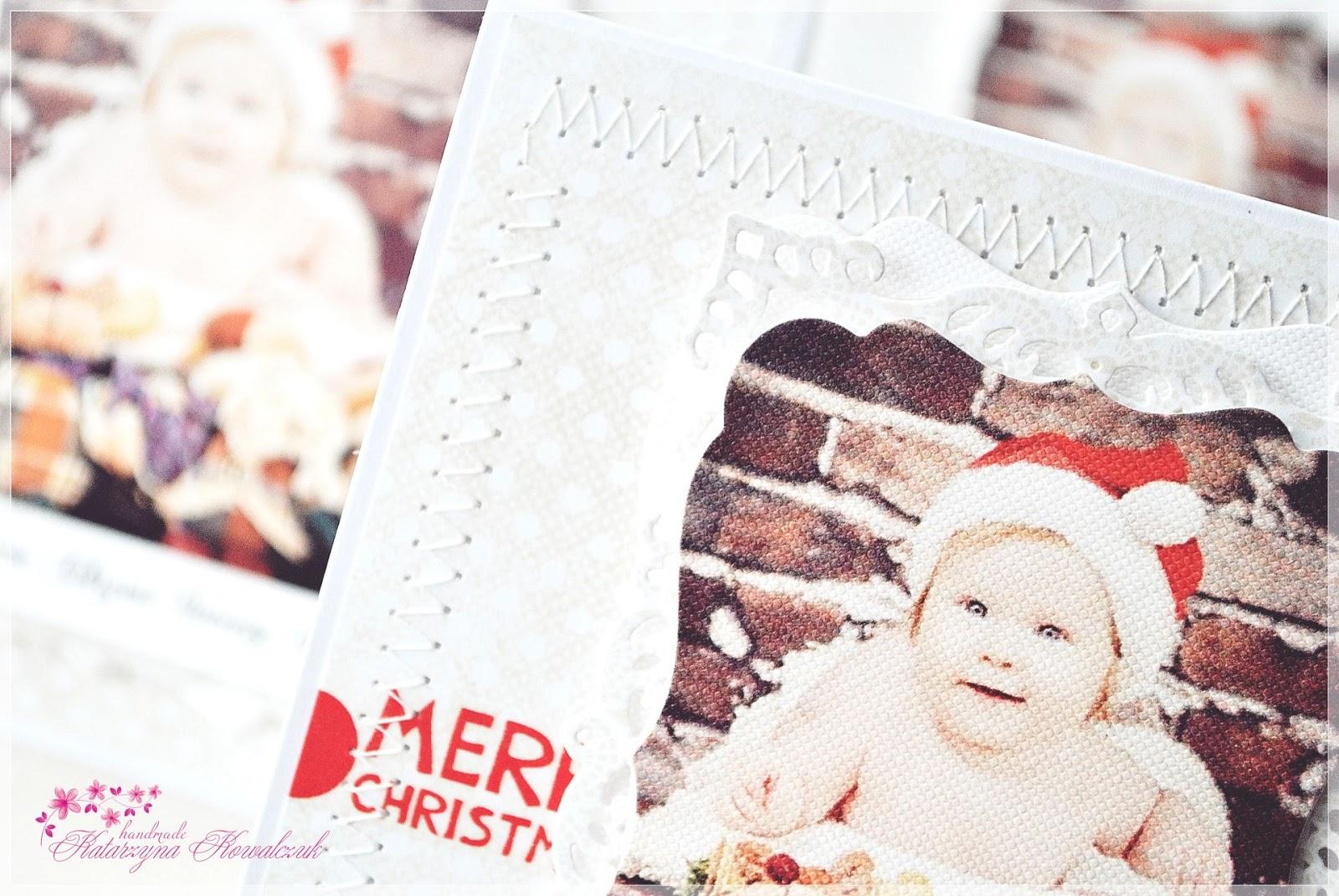 świąteczne zaproszenia na chrzest święty ze zdjęciem dziecka scrapbooking
