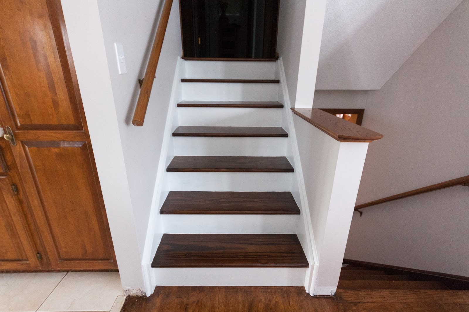 Stained Pine Stairs : used my absolute favorite primer, BIN to prime everything. It looked ...