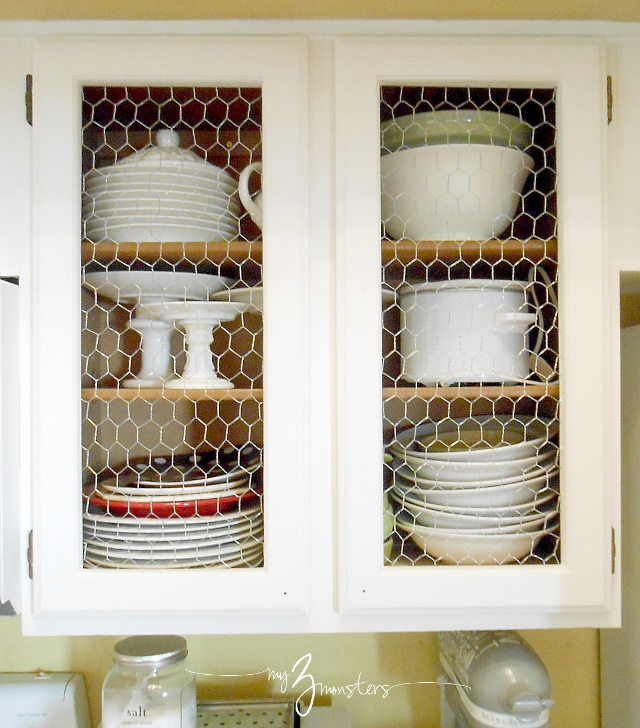 diy kitchen cabinet makeover, kitchen cabinet makeover, white kitchen cabinets, chicken wire kitchen cabinets, diy cabinet makeover