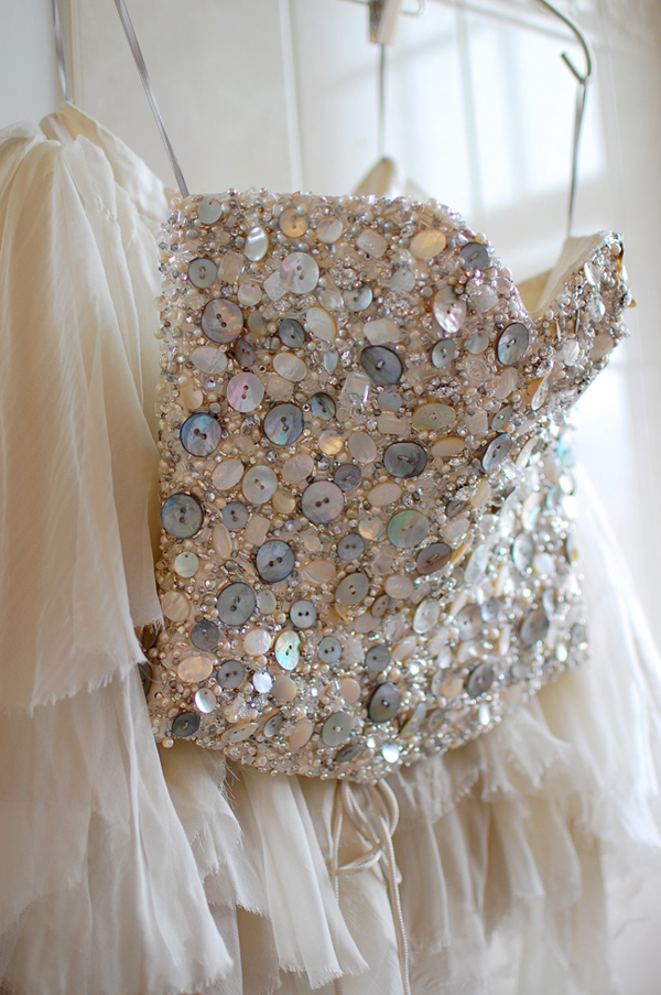Hand beaded Haute Couture crystal and shell corset