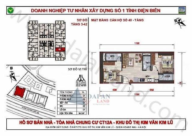 Căn 40 - Tòa CT12A Chung Cư Kim Văn Kim Lũ