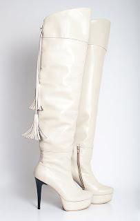 cizme albe peste genunchi din piele naturala cu fermoar si ciucuri