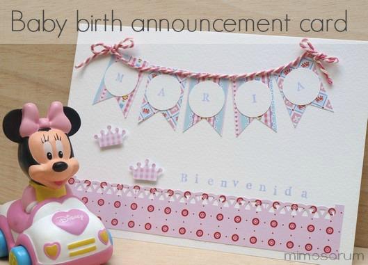 Tarjeta de Nacimiento para bebé- Baby birth announcement card.