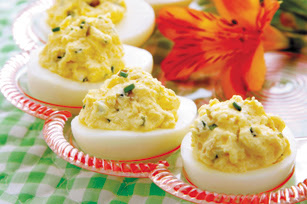 Horseradish Deviled Eggs With Seared Steak And Blue Cheese Recipes ...