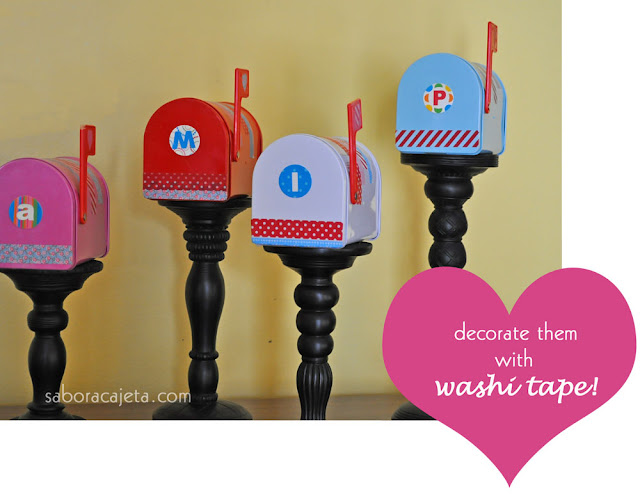 Sabor a cajeta washi tape decorated valentine mini for Mini tin mailboxes for crafts