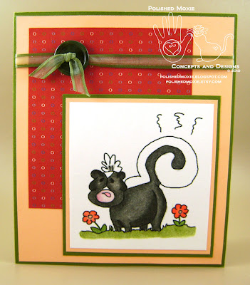 Picture of the front of the skunk birthday card
