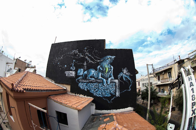 Street Art Mural Painted By Kraser Tres On The Streets of Athens, Greece. 3