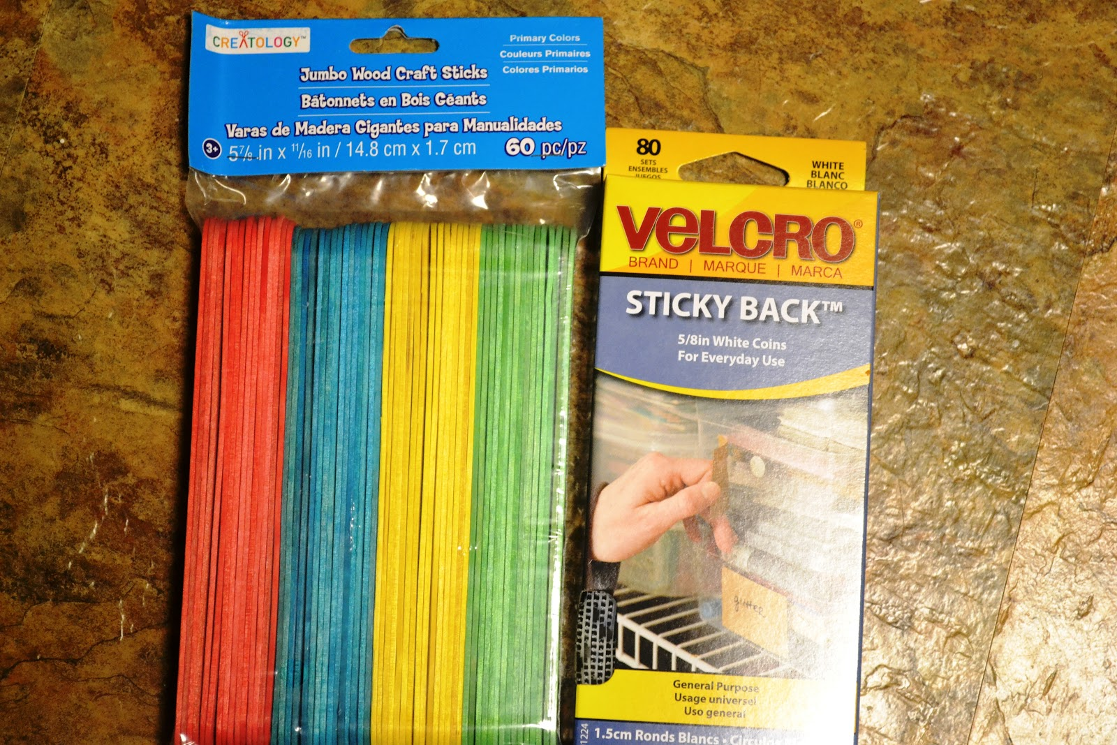 Jumbo wood craft sticks - 1 Package Of Colored Craft Sticks 1 Package Of Velcro Sticky Backed Dots