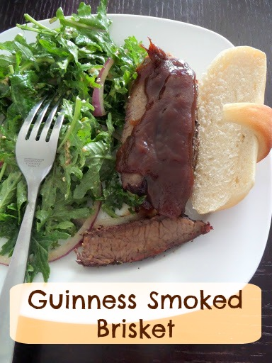 Guinness Smoked Brisket:  Slow smoked brisket seasoned with a dry rub and sprayed with Guinness.