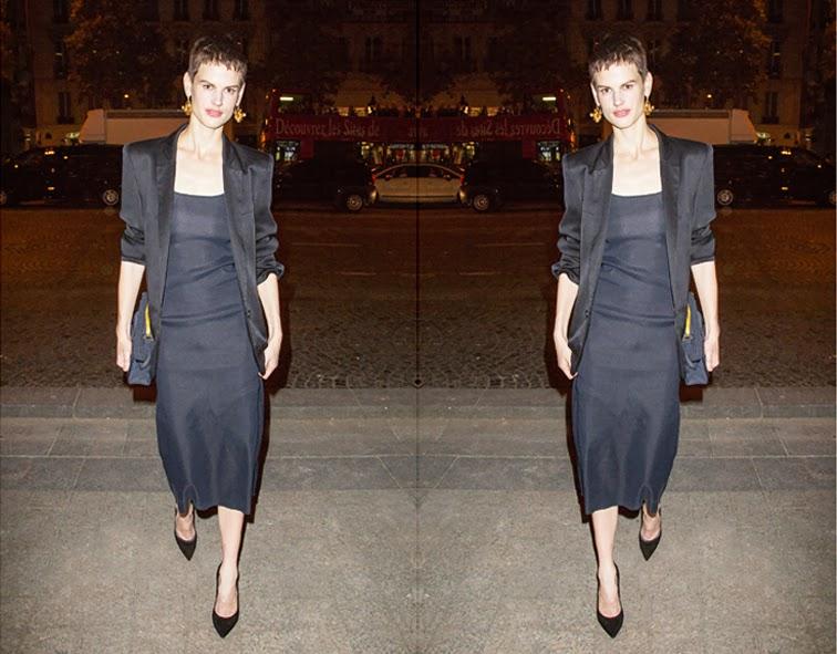 Saskia de Brauw, model off duty, midi dress, all black, boyfriend blazer, gold jewelry, statement earrings, pixie hair cut