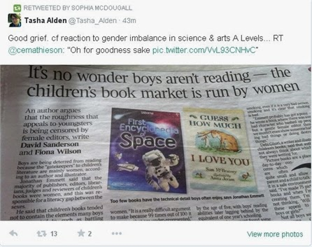 Newspaper headline: it's no wonder boys aren't reading, the children's book market is run by women