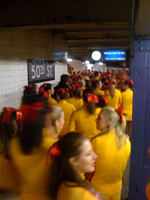 All Star Cheerleaders on subway