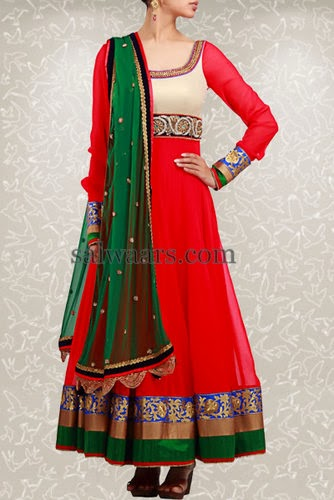 Red Mirchi Salwar by Anarkali Style