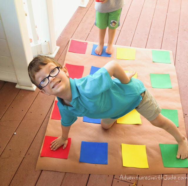 playing twister on his new mat - just his size!