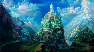 صورة مدينة مرتفعة وسط جليد وسماء زرقاء جميلة