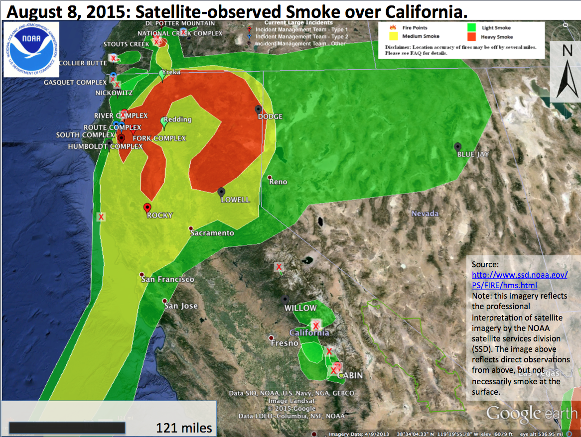 Though Most Of The Dense Smoke Farther Afield From Fires Remains Aloft Some Smoke Mixes Down During The Afternoons This Created Afternoon Readings In The
