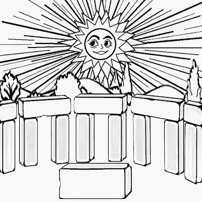 rising daylight Stonehenge sunrise summer solstice sun printable colouring book activities for kids
