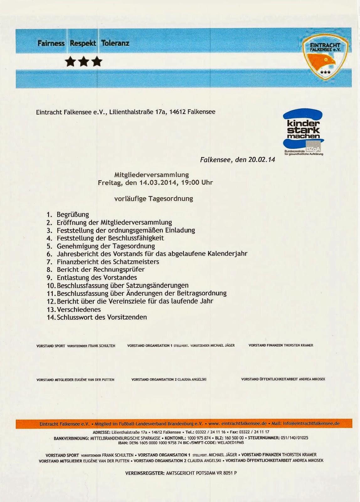Mitgliederversammlung Einladung Eintracht Falkensee