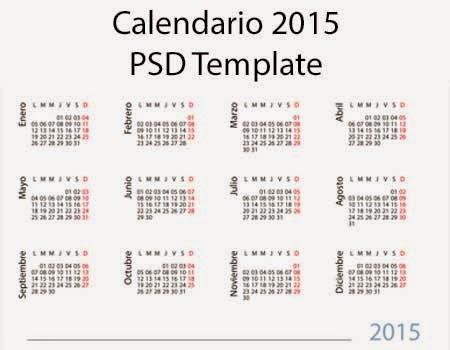 Calendario, 2015, PSD, Template