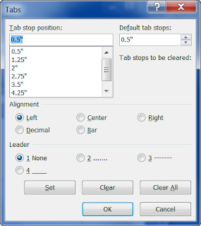 Tabs Dialog Box of MS Word 2007
