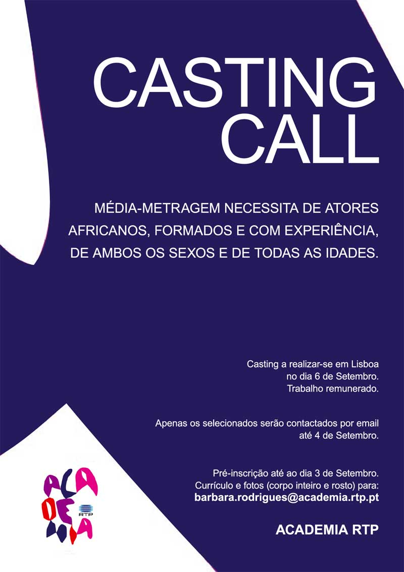 Casting para atores africanos (média-metragem RTP) – Lisboa