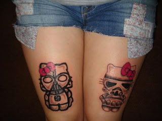 Hello Kitty Star Wars Darth Vader and Stormtrooper tattoo