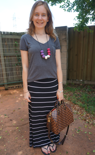Away From Blue: Grey and Stripes! More Maxi Skirt Outfits