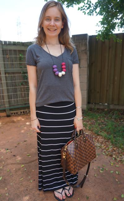 Aussie Blogger Favourite Outfit SAHM Grey tee target black white striped maxi skirt