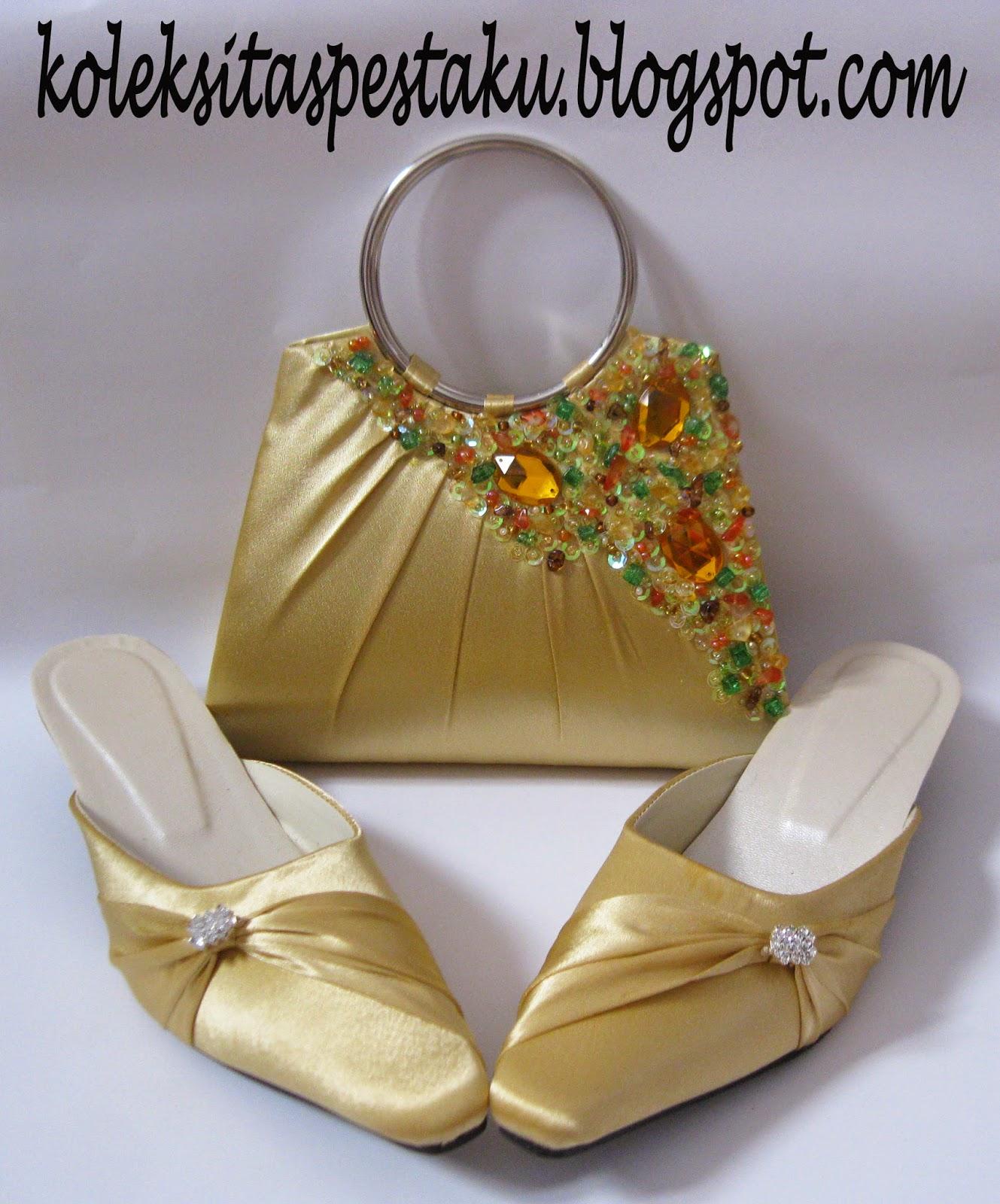 Slop dan Tas Pesta Lucu Warna Gold