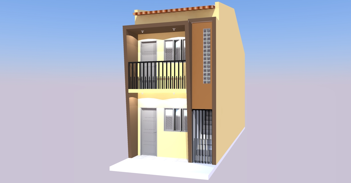 Duas casa em terreno de 3 70 x 15 00 engenheiro ivanberg for Casa moderna de 7 00m x 15 00m
