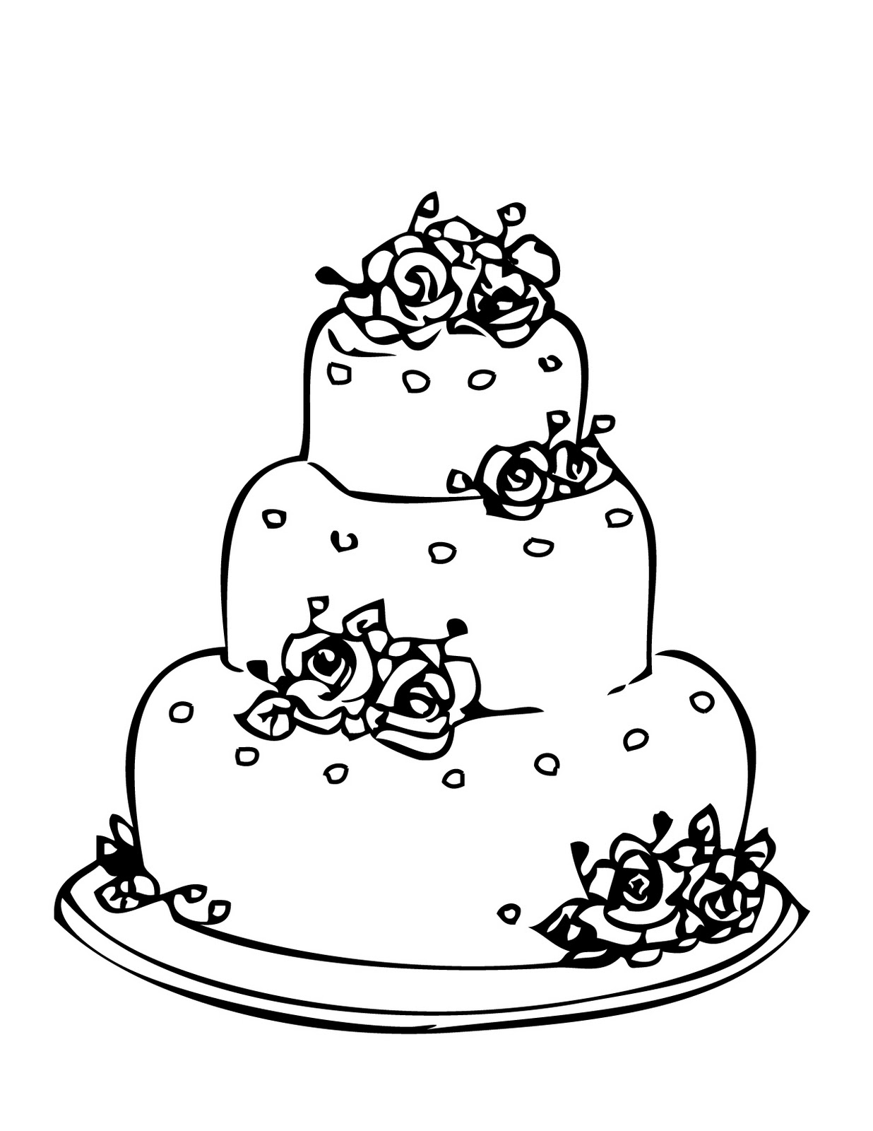 Adult Beauty Coloring Page Cake Images top birthday cake with roses printable wedding coloring pages images