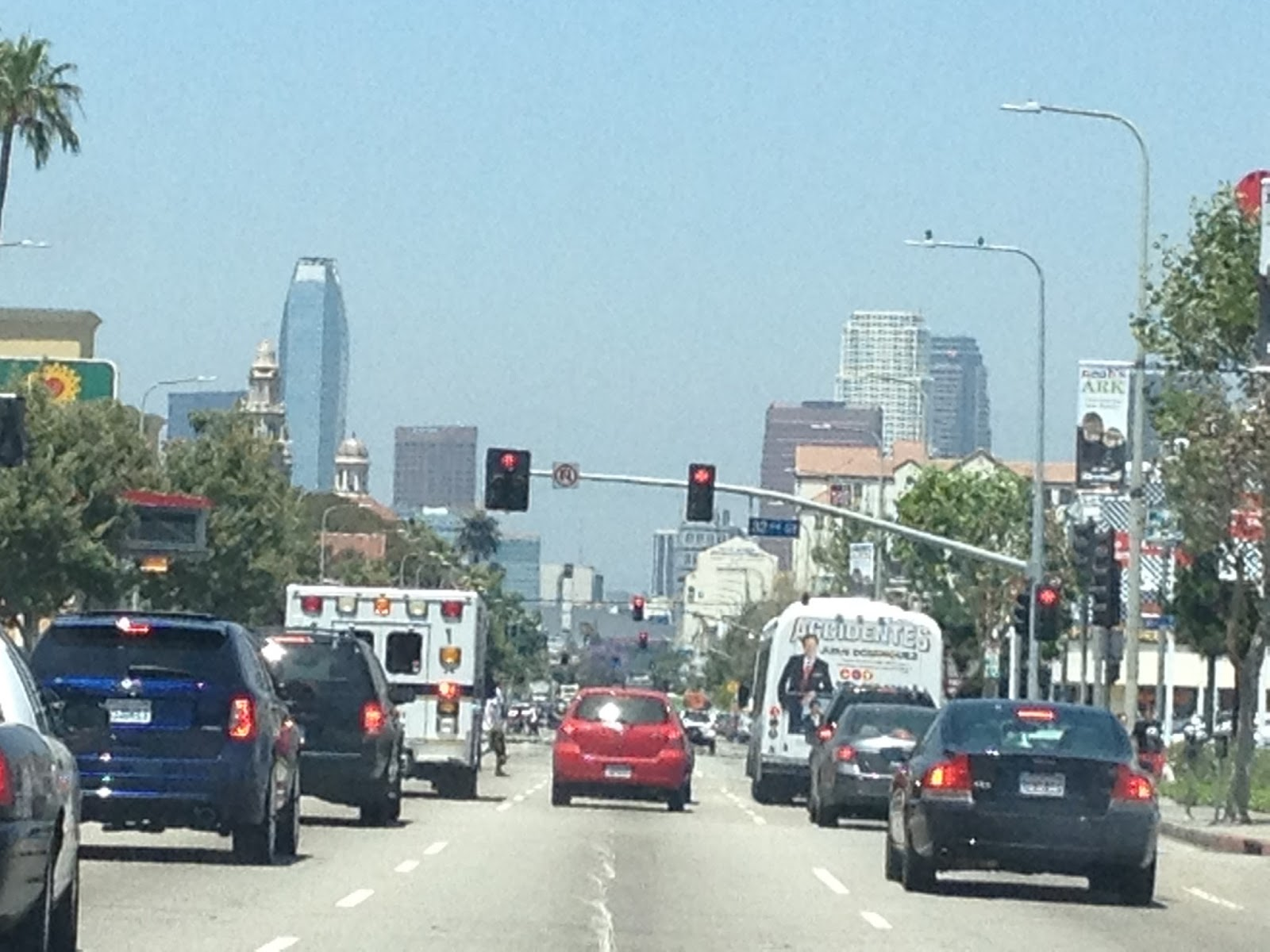 Driving toward Downtown L.A.