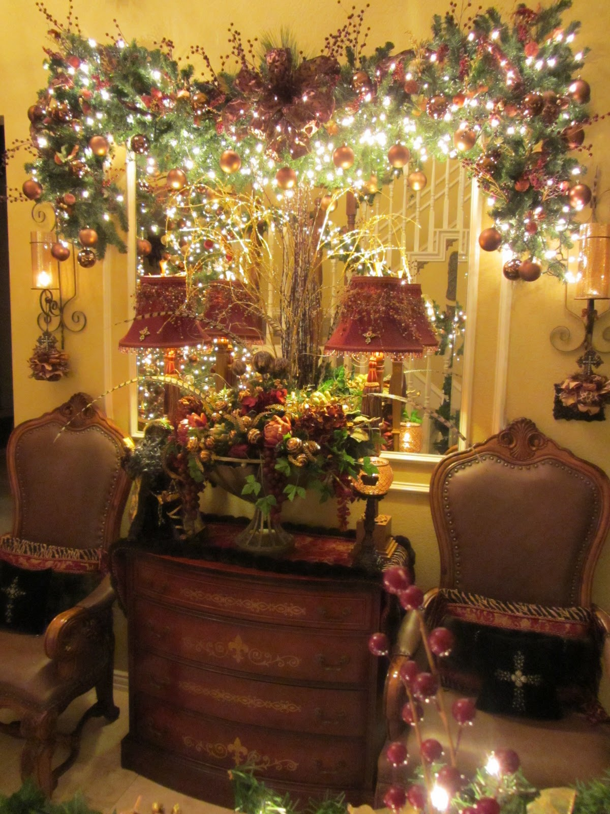 Tiaras and bowties awesome features and a winner for Foyer christmas decorating ideas