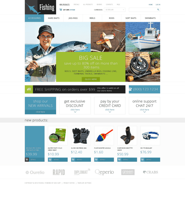 Fishing ZenCart Template