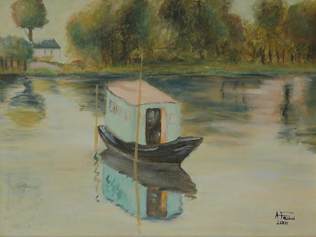 l'atelier galleggiante - il battello studio di Claude Monet - olio su tavola telata