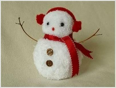 Снеговик из помпонов. Snowman of pompons