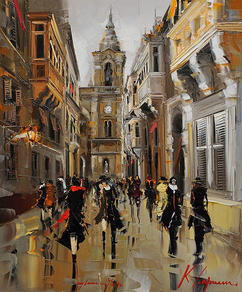 06-My-Love-In-Malta-Kal-Gajoum-Paintings-of-Dream-Like Cities-of-the-World-www-designstack-co