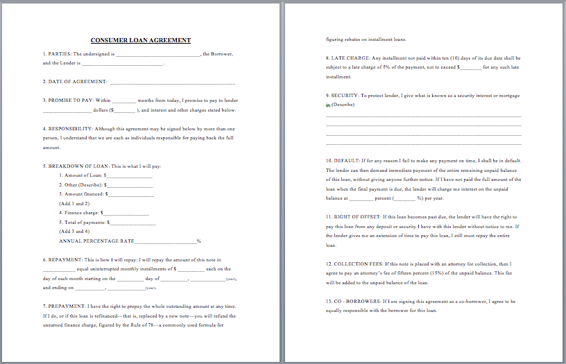 loan agreement template – Loan Forms Template