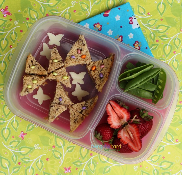 Funbites Triangles sandwiches turned into butterflies!