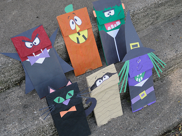 Halloween Craft Paper Bag Puppets