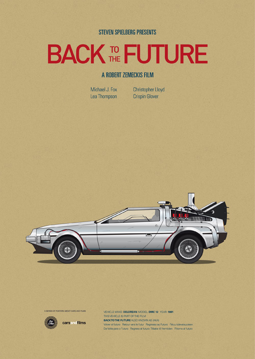 Carros famosos do cinema em posters minimalistas - Jesús Prudencio - Back to the Future