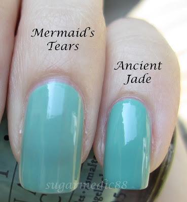 OPI Mermaid's Tears vs Orly Ancient Jade Comparison Swatch