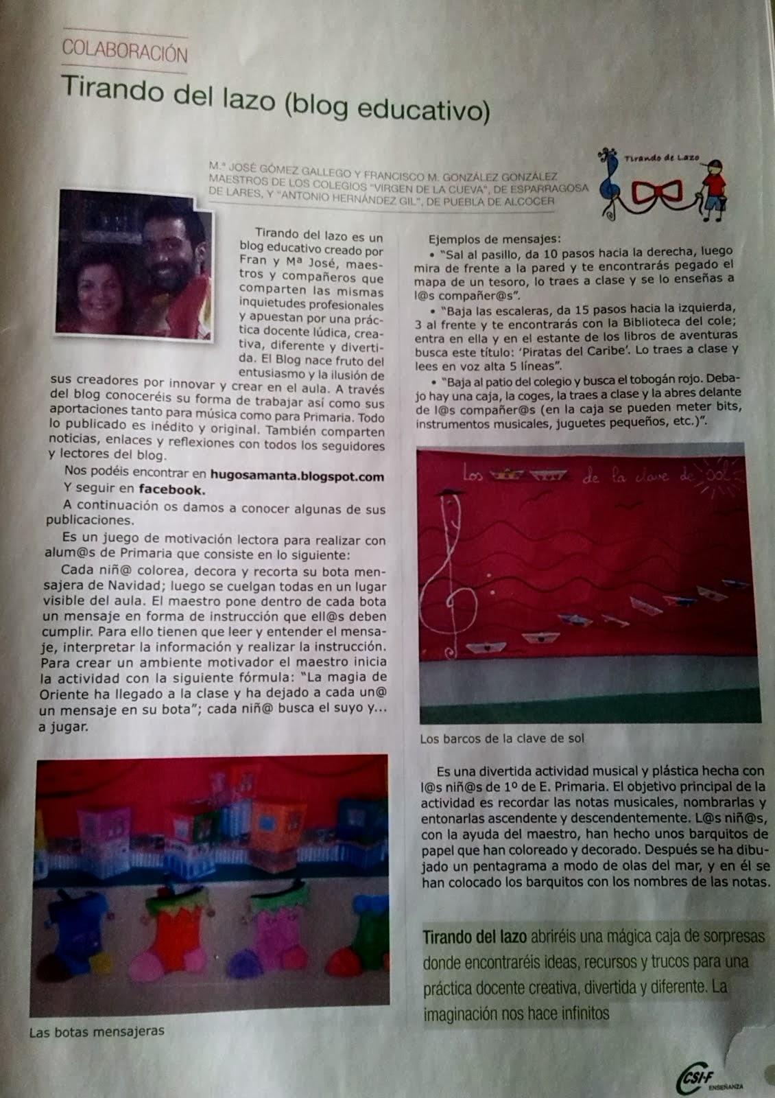 """""""TIRANDO DEL LAZO ARTISTA, SUBE A LA REVISTA."""""""
