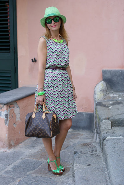 chevron dress, summer dress, Louis Vuitton Speedy 30, fashion blogger, Fashion and Cookies