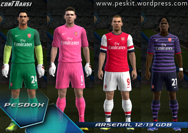 PES 2013 Arsenal FC 2012/13 Kits by Contraksi