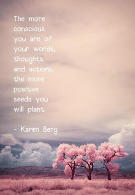 The more conscious you are of your words, thoughts and actions, the more positive seeds you will plant.