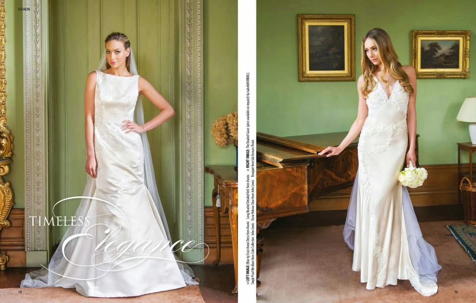 Model wearing bridal gowns for a shoot in a scottish house with sleek classic bridal hair and makeup