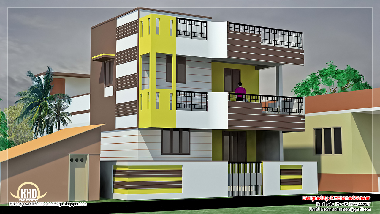 1840 south indian home design kerala home design for Indian house image
